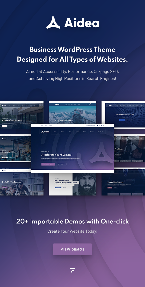 Business WordPress theme designed for all types of websites. Aimed at accessibility, performance, on-page SEO, and achieving high positions in search engines!